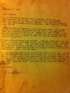 John Shine letter